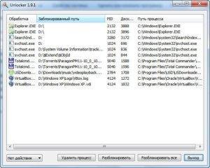 разблокировать файл который используется и не удаляется