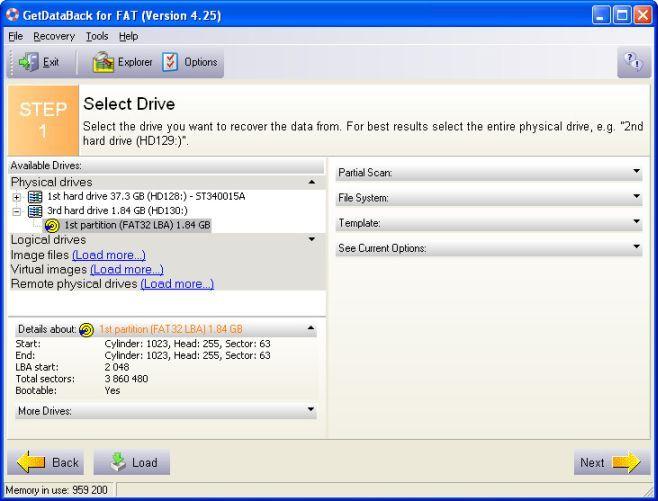 выбор раздела getdataback