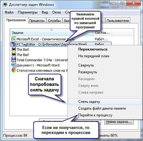 Как закрыть программу в диспетчере задач Windows 7