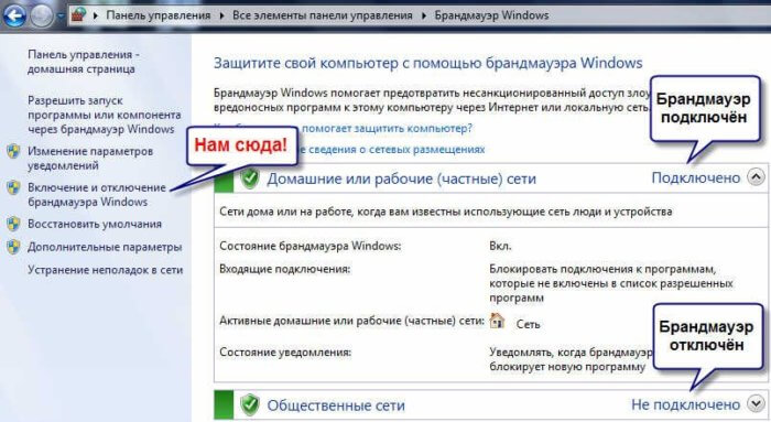 Окно включения и отключения брандмауэра windows 7
