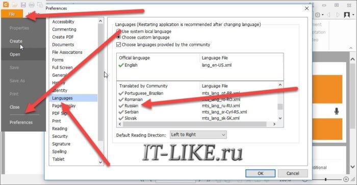 выбор русского языка