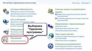 Удаление программы в панели управления Windows 7