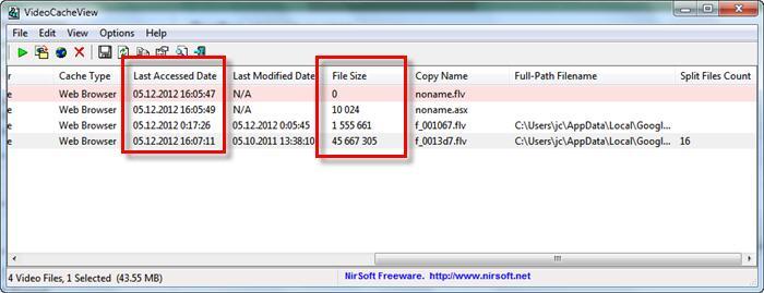 Информация о файлах в кэше которые нужно достать