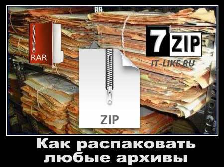 Как распаковать архив zip rar 7z