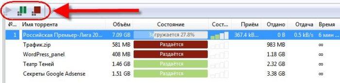 Главное окно программы uTorrent