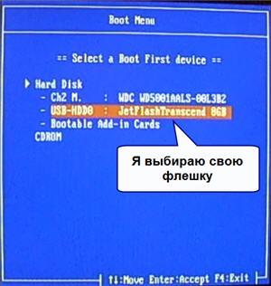 Выбор флешки для загрузки компьютера