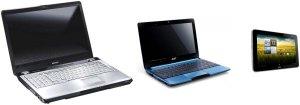 Сравнение габаритов ноутбука, планшета и нетбука