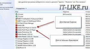 Adobe Flash в установке и удалении программ Windows 7