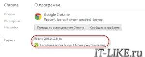 Проверка версии Google Chrome для обновления