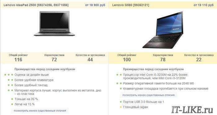 Как сравнить два ноутбука