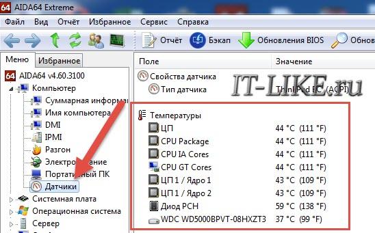 Датчики компьютера в AIDA64