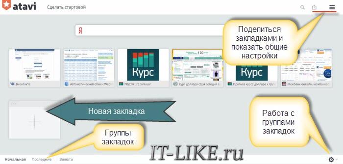 Интерфейс визуальных закладок Atavi