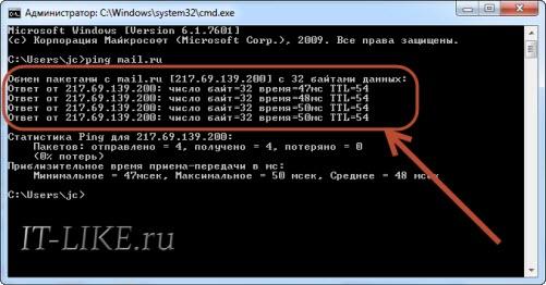Команда ping mail.ru