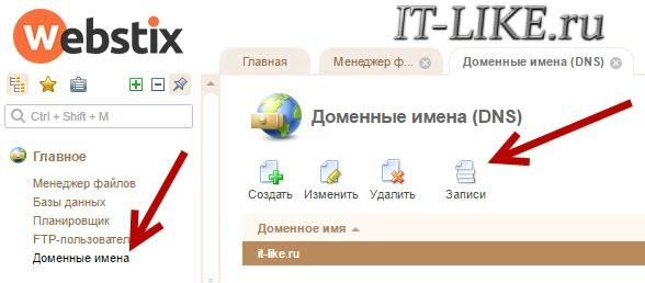 ISP Manager - Доменные имена