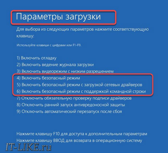 Меню безопасной загрузки Windows 10