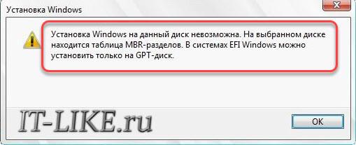 """сообщение """"Установка windows на данный диск невозможна"""""""
