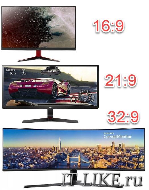 Сравнение мониторов с соотношением сторон 16:9, 21:9 и 32:9